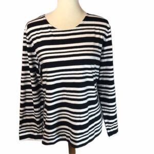 Appleseed's Long Sleeve Striped Cotton Top